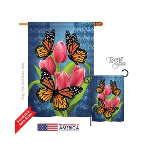 Breeze Decor 04078 Monarch Butterflies 2-Sided Vertical Impression House Flag - 28 x 40 in.