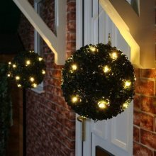 New 2 X 28 cm Topiary Ball Bush with 20 LED Solar Powered Light Garden Decoration