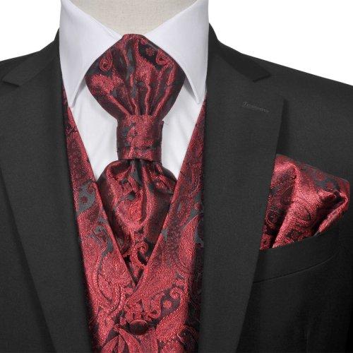 vidaXL Men's Paisley Wedding Waistcoat & Tie Set Size 48 Burgundy Party Prom