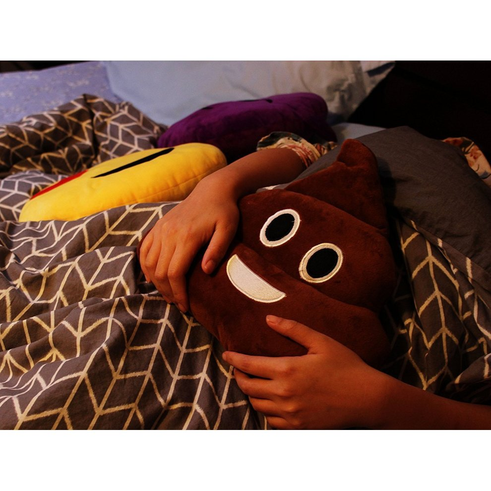 Kompanion Emoji Pillow Large Poop Shaped 3 Piece Set, 30x30CM, Emoticon  Soft Stuffed Plush Cushion Pillow, In Colours Poop Brown, Pink Princess  and