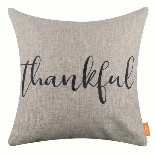 "18""x18"" Simple Black World Thankful Burlap Pillow Cover Cushion Cover"