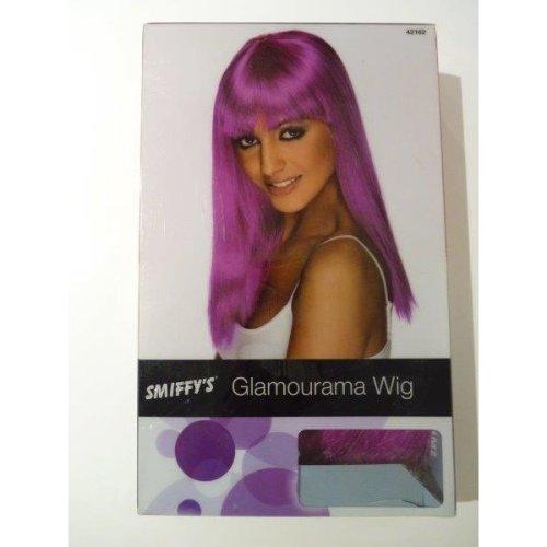 Adult's Neon Purple Glamour Wig -  wig long glamourama ladies neon straight fancy dress purple costume accessory smiffys fringe