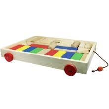 Obique Children's Wooden Toy Large Pull Along Trolley with 31 Building Blocks