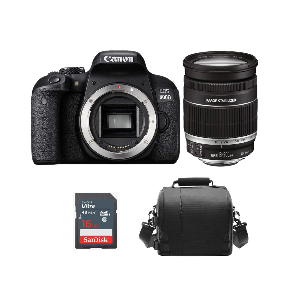 CANON EOS 800D + EF-S 18-200mm F3 5-5 6 IS + Bag+16gb SD card
