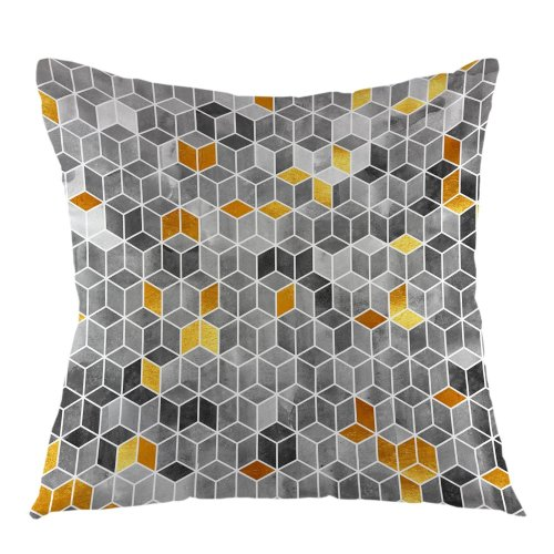 """Melyaxu Gradient Cubes Geometric Throw Pillow Case Square Cushion Cover for Sofa Couch Home Car Bedroom Living Room 18"""" x 18"""""""