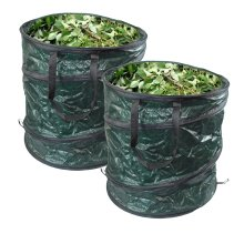 GLOW Set of 4 Pop Up Garden Waste Bags with Carry Handles – Large Reusable Premium Heavy Duty Double Stitched 80L Collapsible Folding Lightweight Outdoor Home and Garden Collection Bin Sack for Refuse Rubbish Leaves Soil Grass Weeds Cuttings Plants F