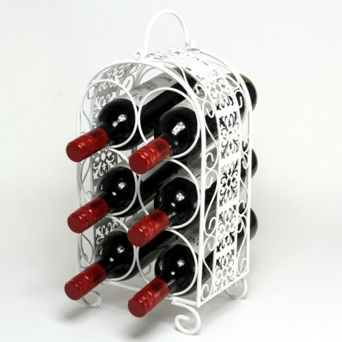 White 6 Bottle Wine Rack