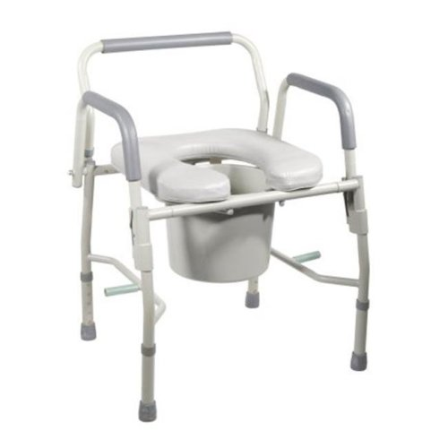 Drive Medical 11125Pskd-1 Steel Drop Arm Bedside Commode With Padded Seat & Arms- Grey