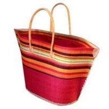 Madagascar Raffia Small Bato Red Stripe Basket