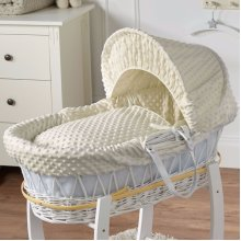 Cream Dimple White Wicker Moses Basket