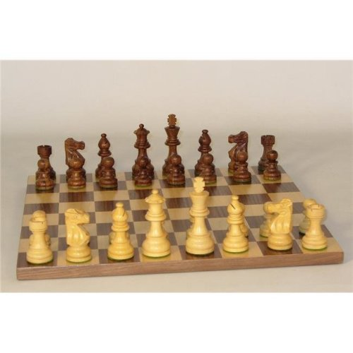WorldWise 30SL-WB Small Sheesham Lardy Chessmen Basic Board - Walnut & Maple