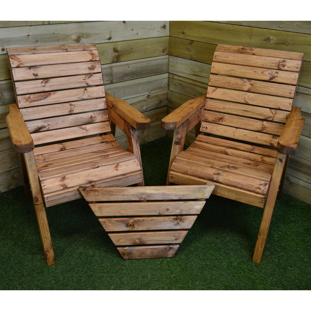 Hand Made 2 Seater Chunky Wooden Garden Furniture Love Seat With Tray
