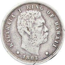 1883 Kingdom of Hawaii Kalakaua One Dime 10 Cents (Umi Keneta) Silver Coin