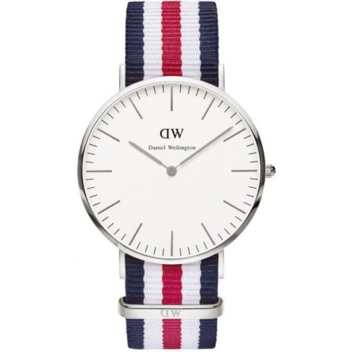 Daniel Wellington DW00100016 Fabric Watch Nato Navy Blue White Red Men