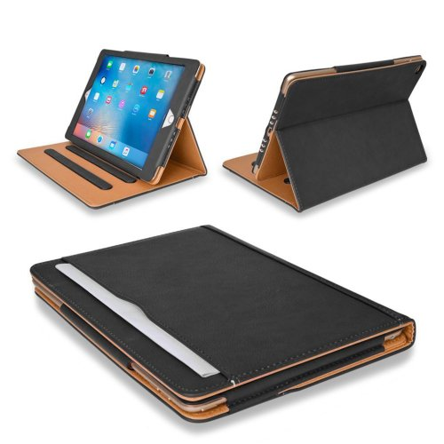 MOFRED® New Black & Tan 9.7 inch Apple iPad Pro Smart Leather Case