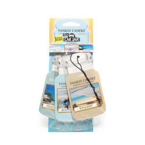 Yankee Candle 1159972E Car Freshener, Car Jar Variety 3 Pack, Beach Vacation