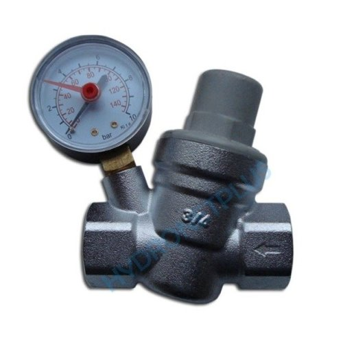 """Water Pressure Reducing Valve 1/2"""" Female for 15mm Pipe with Gauge"""