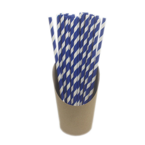 100 Pieces Disposable Paper Drinking Straws Juice Stirring,Royal Blue