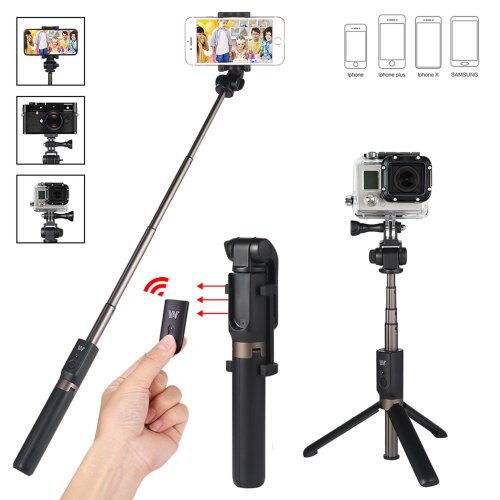 """Foretoo Selfie Stick Waterproof Tripod Stand Kit with Bluetooth Remote Extendable Aluminum Alloy Monopod 26.77"""" for Gopro Camera Iphone 6 6s 7 plus..."""