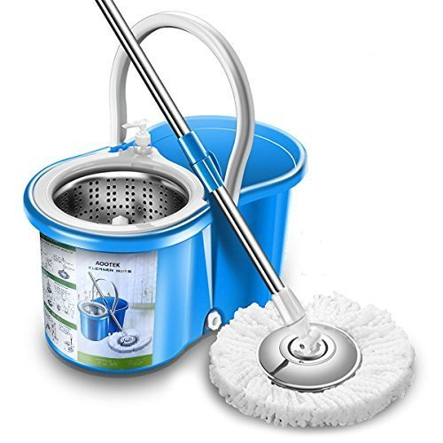 Aootek New Upgraded Stainless Steel Deluxe 360 Spin Bucket Floor Cleaning System