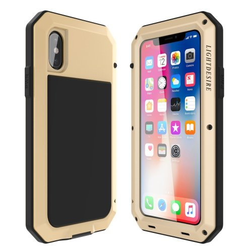 sale retailer e42b2 dcc9b LIGHTDESIRE iPhone X iPhone 10 Case, Rugged Armor Water Resistant Military  Bumper Metal Extreme Shockproof Heavy Duty Cover Case for iPhone X(Gold)