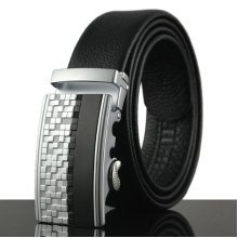 125-130CM Men Business Genuine Leather Belt Durable Automatic Buckle Belt