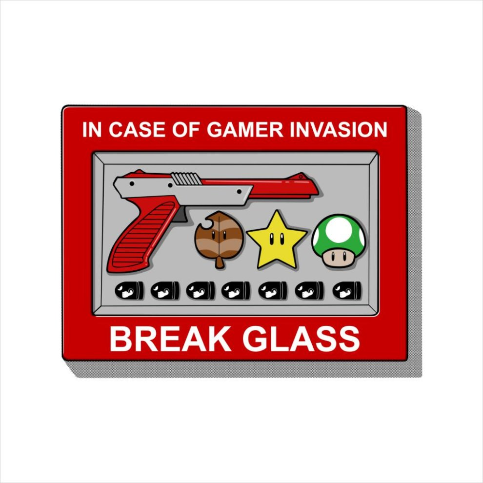 c791794d8 ... In Case Of Gamer Invasion Break Glass Super Mario Men's Baseball Long  Sleeved T-Shirt ...