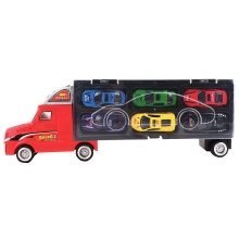 Car Transporter Carrycase with Truck Design – Car Set Carrier with 6 Assorted Cars Included