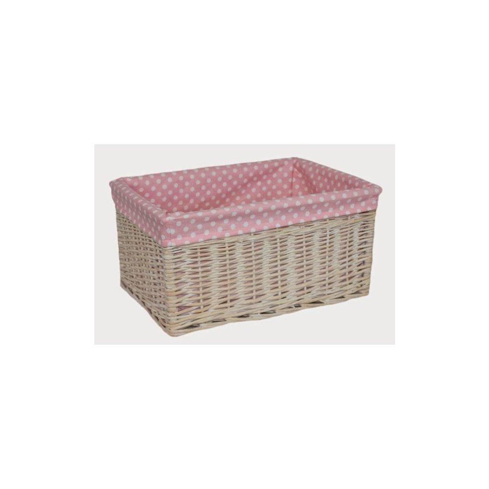 Nursery Décor Baby Pink Spotty Lined Wicker Open Storage