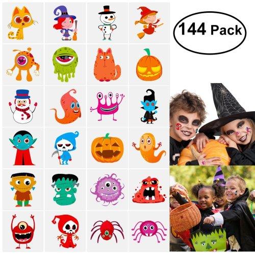144 Assorted Halloween Temporary Tattoo for Kids, 24 Cute Designs Stick on Children Tattoos