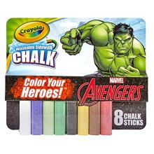 Crayola Washable Sidewalk Chalk Marvel Avengers - Incredible Hulk Theme Pack 8 Count