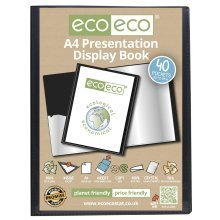 1 x A4 Recycled 40 Pocket(80 Views) Presentation Display Book - Black