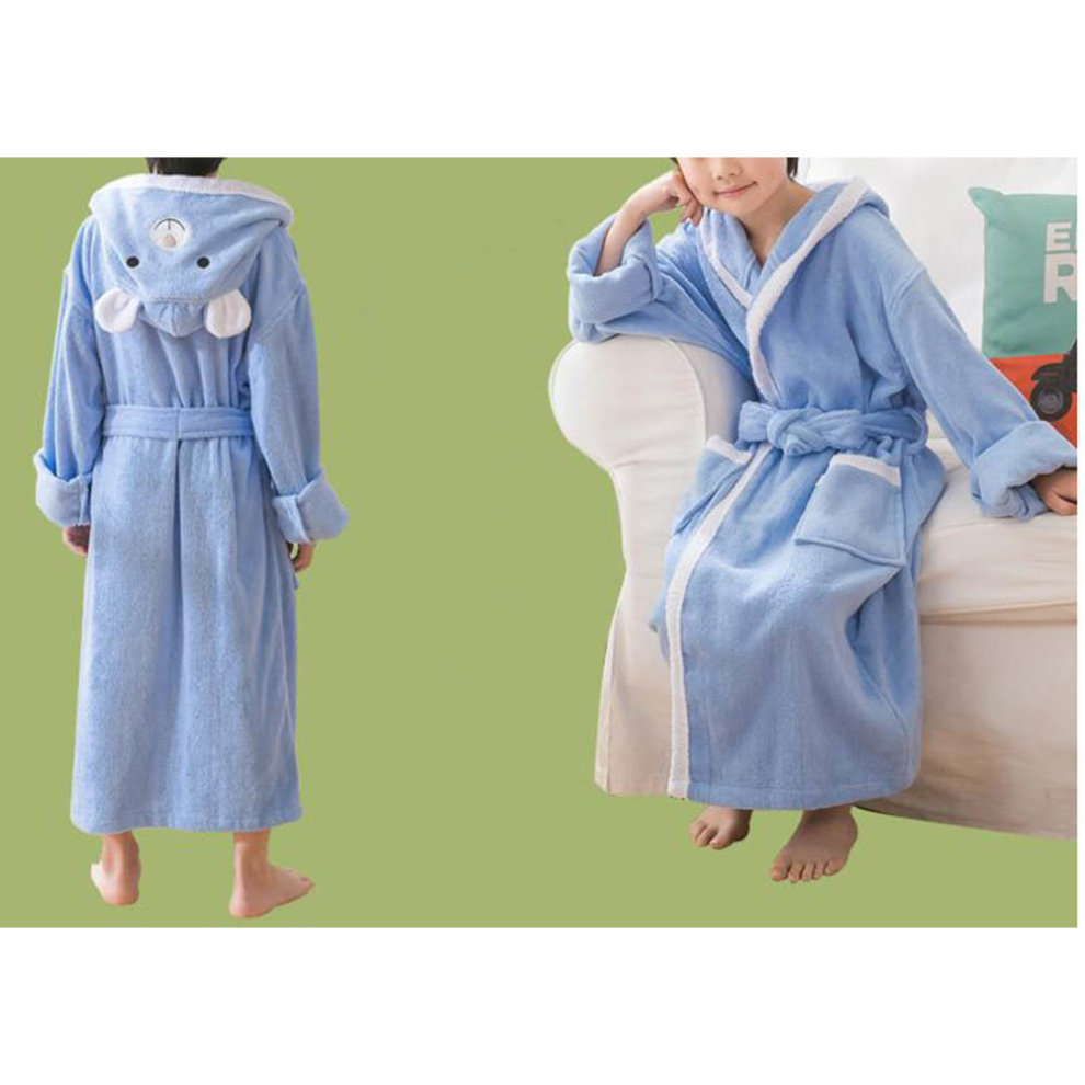 e07c6957f3 ... Children Cotton Bathrobe Soft Swim Bath Gown Robes Pajamas with Hat-A11  - 1.