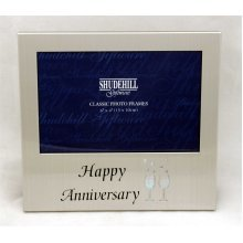 Satin Silver Happy Anniversary 6 x 4 Frame by Shudehill giftware