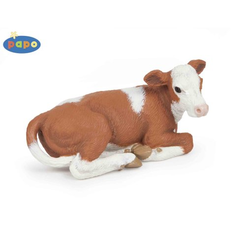 Papo Lying Simmental Calf Figurine - Animal Farm Toy Animals Realistic Model -  papo animal farm toy animals realistic model farmyard figures hand