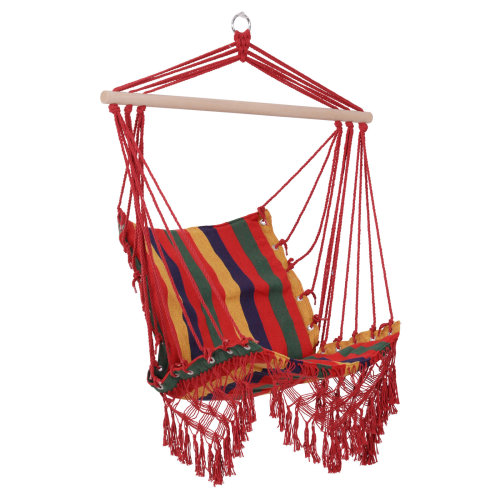 Outsunny Hammock Chair Swing Colourful Striped Tree Hanging Seat Porch Indoor Outdoor Fabric Garden Furniture