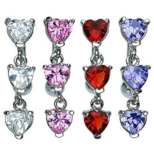 Crystal Prong Set Triple Heart Chain Dangle Top Down Belly Bar Reverse