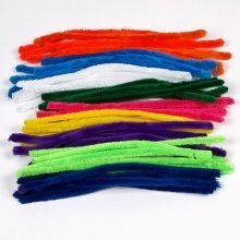 50 Fluffy Pipe Cleaners 30cm x 12mm Mixed Colours