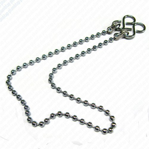 "Bath/Kitchen Basin Plug Chain with Hooks, Chrome 18"" (450mm)"