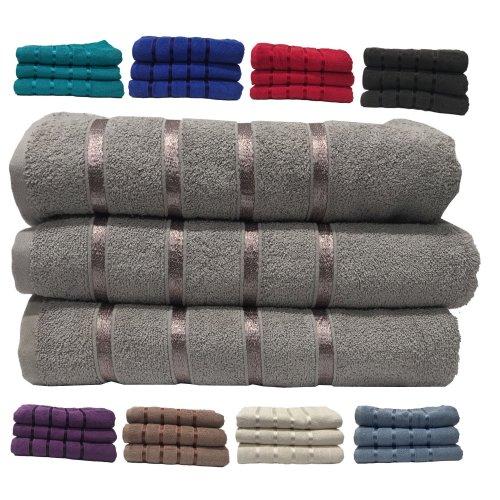 Boston Egyptian Cotton Satin Stripe Towel Bath Sheets 450GSM 3 piece Bale Set