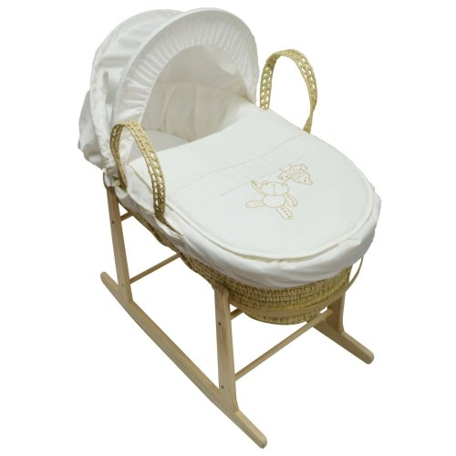 Beautiful Moses Basket And Natural Rocking Stand Cream Hanging Ted Palm