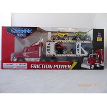 WeGlow Red Semi Truck and White Carrier with 4 Cars