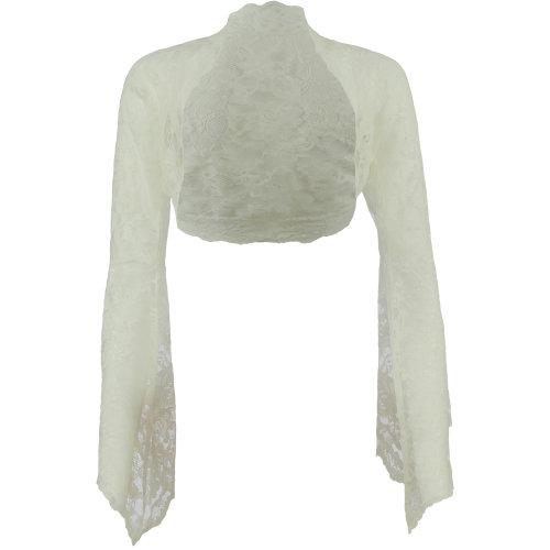 Ladies Ivory Lace Bell Sleeve Bolero Size 6-30