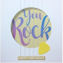 You Rock Guitar Birthday Card Hand Finished With Removable Pick
