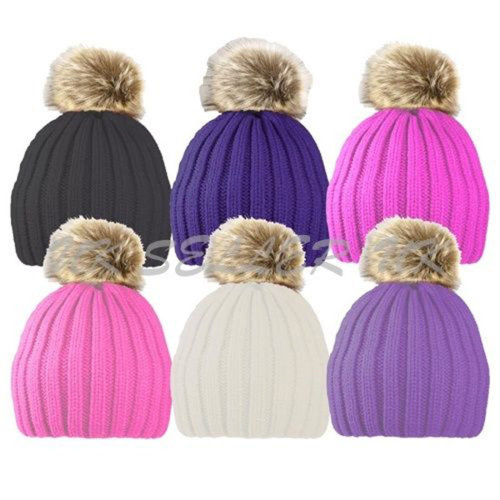 f144d120e53 Childrens Hat Ribbed Faux Fur Pom Pom Girl Knitted Warm Cosy Winter Hats  Kids UK on OnBuy