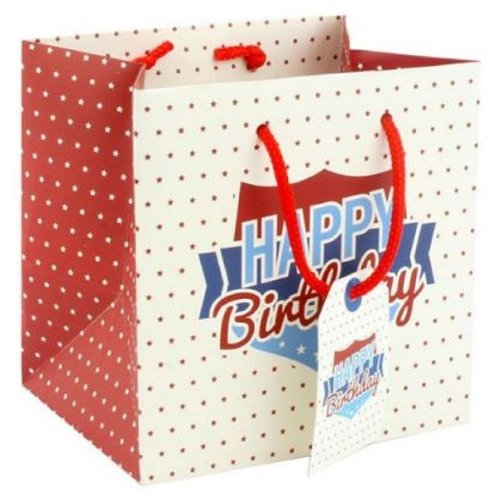 Small Happy Birthday Gift Bag Gents Mens Dad Grandad Father Daddy 15x15x12cm