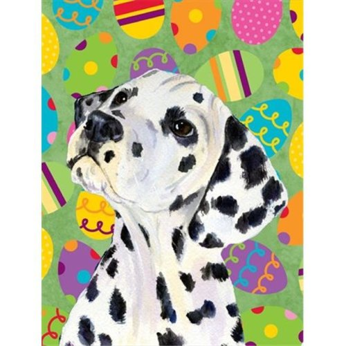 Carolines Treasures SS4837CHF 28 x 40 in. Dalmatian Easter Eggtravaganza House Size Canvas Flag