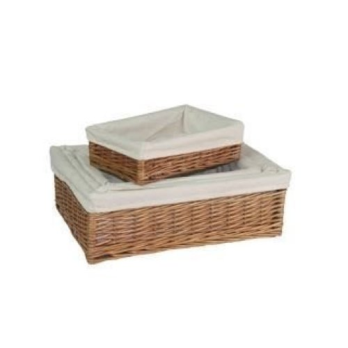 Set of 4 Lined Double Steamed Wicker Storage Tray
