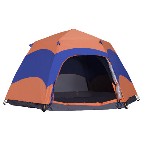 Outsunny Six Man Hexagon Pop Up Tent Camping Festival Hiking Shelter Family Portable