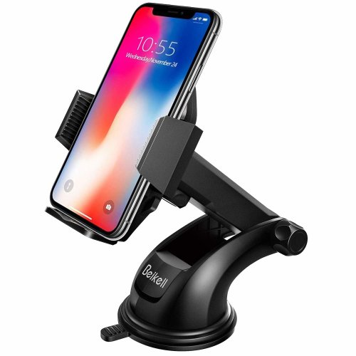 Car Phone Holder,Beikell Car Phone Mount Cradle - Phone Holder for Car with One Button Release and Strong Sticky Gel Pad for iPhone X/ 8/ 7/ 7...